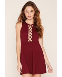Forever 21 - Red Crisscross Fit And Flare Dress - Lyst