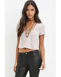 Forever 21 - Natural Lace-up Crop Top - Lyst