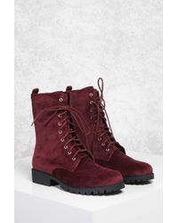 Forever 21 - Red Faux Suede Combat Boots - Lyst