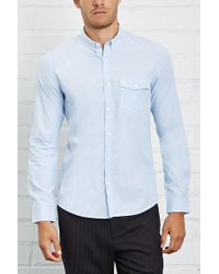 Forever 21 - Blue Fitted Button-down Shirt for Men - Lyst