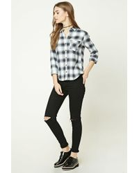Forever 21 - Gray Buffalo Plaid Flannel Shirt - Lyst