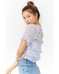 Forever 21 - Blue Women's Sheer Floral Ruffle-trim Top - Lyst