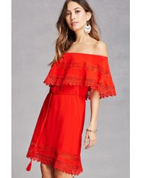 Forever 21 - Red Off-the-shoulder Flounce Dress - Lyst