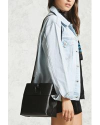 Forever 21 | Black Structured Faux Leather Bag | Lyst