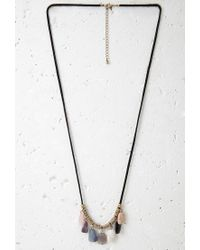 Forever 21 - Multicolor Beaded Faux Stone Cord Necklace - Lyst