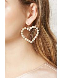 Forever 21 | Metallic Faux Pearl Heart Drop Earrings | Lyst