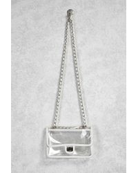 2e5aca4a01c8 Lyst - Forever 21 Clear Vinyl Crossbody Chain Bag in White