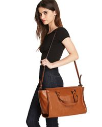 Forever 21 - Brown Unstructured Faux Leather Satchel - Lyst