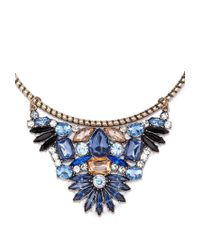 Forever 21 - Blue Rhinestone Flower Collar Necklace - Lyst