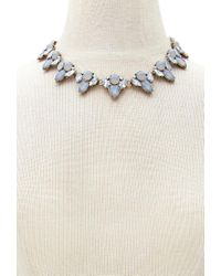 Forever 21 - Gray Faux Gem Statement Necklace - Lyst