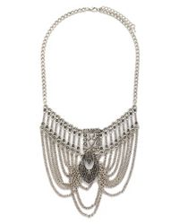 Forever 21 | Metallic Etched Chain Statement Necklace | Lyst