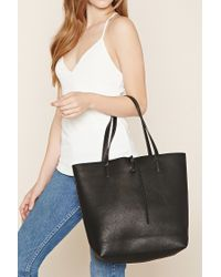 Forever 21 - Black Pebbled Faux Leather Tote - Lyst