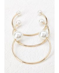 Forever 21 - Metallic Faux Pearl Cuff Set - Lyst