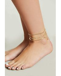 Forever 21 - Metallic Assorted Chain Anklet Set - Lyst