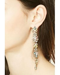 Forever 21 | Metallic Floral Faux Gem Drop Earrings | Lyst