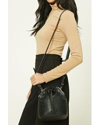 Forever 21   Black Faux Leather Bucket Bag   Lyst