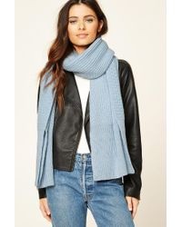 Forever 21 | Blue Ribbed Knit Oblong Scarf | Lyst