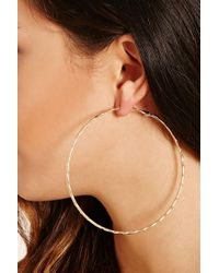 Forever 21   Metallic Oversized Etched Hoop Earrings   Lyst