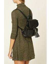 Forever 21 | Black Tasseled Faux Leather Backpack | Lyst