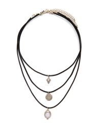 Forever 21 | Black Etched Charm Choker Set | Lyst