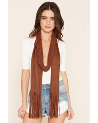 Forever 21 | Brown Faux Suede Fringed Scarf | Lyst