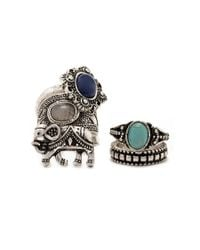 Forever 21 - Metallic Etched Faux Stone Ring Set - Lyst