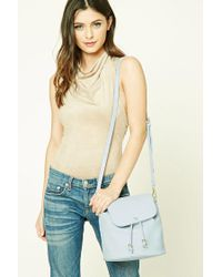 Forever 21 | Blue Faux Leather Bucket Bag | Lyst