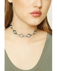 Forever 21   Metallic Faux Stone Diamond Choker   Lyst