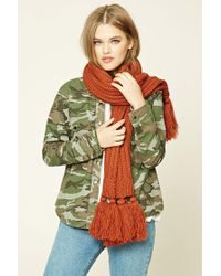 Forever 21 | Brown Tassled Ribbed Knit Scarf | Lyst