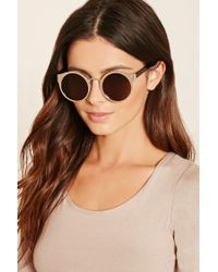 Forever 21 | Brown Metallic Round Sunglasses | Lyst
