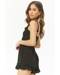 Forever 21 - Black Ruffle-trim Playsuit - Lyst