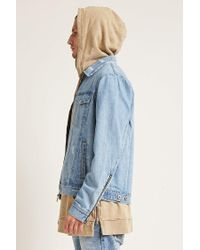 Forever 21 - Blue Zip-up Denim Jacket for Men - Lyst