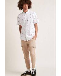 Forever 21 - White Slim-fit Rose Print Shirt for Men - Lyst