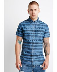 Forever 21 | Blue Abstract Stripe Shirt for Men | Lyst