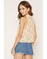 Forever 21 - Pink Floral Print Tie-neck Top - Lyst