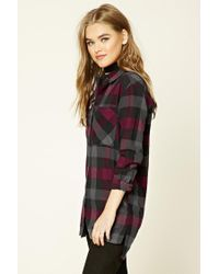 Forever 21 - Red Buffalo Check Flannel Shirt - Lyst