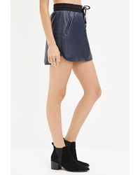 Forever 21 - Blue Faux Leather Drawstring Skirt - Lyst