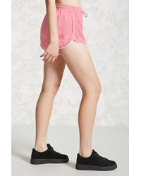 Forever 21 - Pink Satin Dolphin Hem Shorts - Lyst