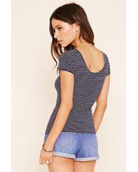 Forever 21 - Blue Stripe Knit Top - Lyst