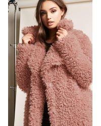 Forever 21   Purple Boucle Knit Button-front Coat   Lyst
