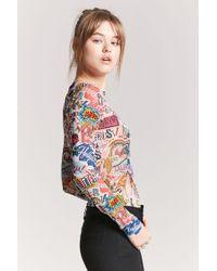 Forever 21 - Pink Sheer Mesh Graphic Bodysuit - Lyst