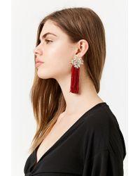 Forever 21 - Red Faux Jewel Tassel Earrings - Lyst
