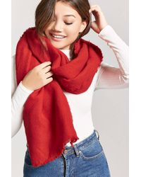 Forever 21 - Red Fringed Oblong Scarf - Lyst