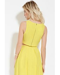 Forever 21 - Yellow Zip-back Crop Top - Lyst