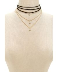 Forever 21 - Metallic Layered Choker Necklace Set - Lyst
