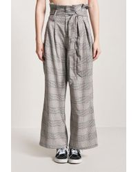 Forever 21 - Gray Glen Check Paperbag Trousers - Lyst