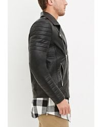Forever 21 - Black Quilted Faux Leather Jacket for Men - Lyst