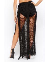 Forever 21 - Black Ladder Cut Maxi Skirt - Lyst