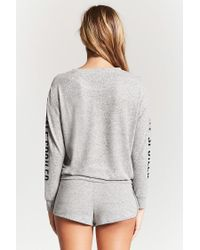 Forever 21 - Gray Spoiled Graphic Pj Top - Lyst