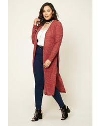 Forever 21 - Red Plus Size Marled Knit Cardigan - Lyst